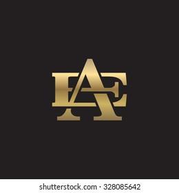 letter E and A monogram golden logo