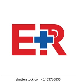 Letter E and R with Cross. Vector Icon and Logo.