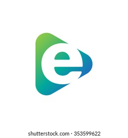 letter e rounded triangle shape icon logo blue green