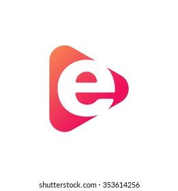 letter e rounded triangle shape icon logo orange red