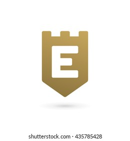 Letter E shield logo icon design template elements