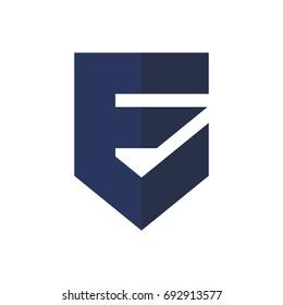 letter E and shield vector logo.