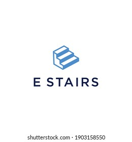 letter E stairs logo vector with modern simple design and blue color