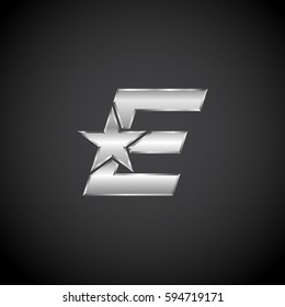 Letter E Star with metallic texture,3d Glossy, metal texture, Silver, steel logotype