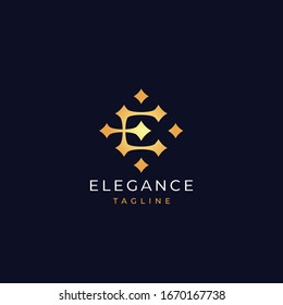 Letter E stars logo icon design template. Business symbol or sign. Luxury logotype. Vector illustration