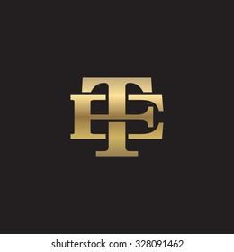 letter E and T monogram golden logo