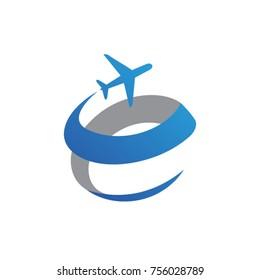 letter e travel plane logo template