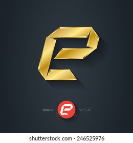 Letter E, Vector gold font. Elegant Template for company logo. Metallic Design element or icon. Pseudo origami style, including flat version.