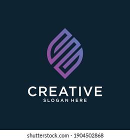 Letter E vector line logo design. Creative minimalism logotype icon symbol