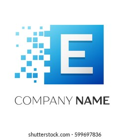 Letter E vector logo symbol in the colorful square with shattered blocks on white background. Vector template for your design