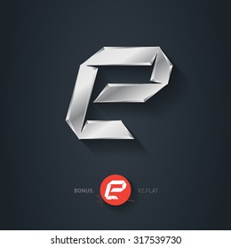 Letter E, Vector silver font. Elegant Template for company logo. Metallic Design element or icon. Pseudo origami style, including flat version.