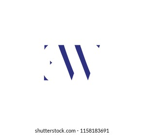 letter E, W, E W, W E with cuts abstract alphabet, font, text, typography, initials design in dark blue color with white background color icon for logo