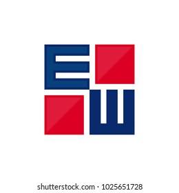 letter E and W square vector logo.