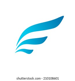 Letter E wing flag icon design template elements. Vector color sign.