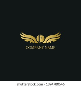 letter E and wings in luxury and elegant golden style logo design