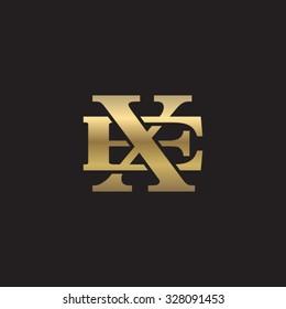 letter E and X monogram golden logo