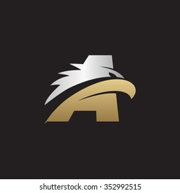 letter A eagle head silver gold logo black background