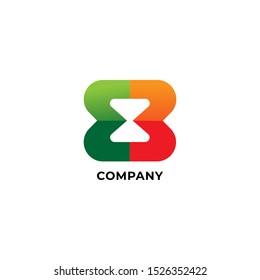Letter EB or E3 Alphabetic Logo Design Template, Hourglass Icon, Sandglass Logo Concept, Timer, Watch, Green, Orange, Fresh, Fun, Cheerfull