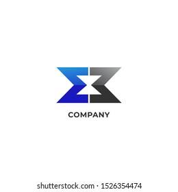 Letter EB or E3 Alphabetic Logo Design Template, Hourglass Icon, Sandglass Logo Concept, Timer, Watch, Blue, Black
