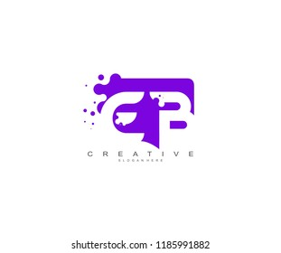 Letter EB Logo Design Vector with Abstract Square Shape Dots