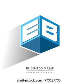 Letter EB logo in hexagon shape and blue background, cube logo with letter design for company identity.