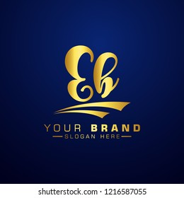 Letter EB Logo Initial. Gold Letter Design Vector Golden Luxury Colors