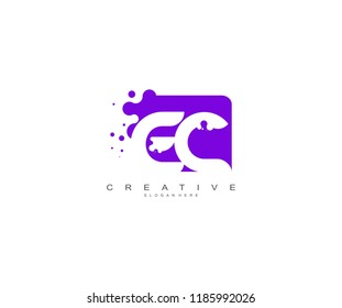 Letter EC Logo Design Vector with Abstract Square Shape Dots
