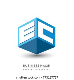 Letter EC logo in hexagon shape and blue background, cube logo with letter design for company identity.