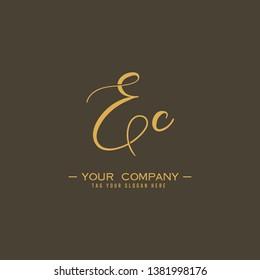Letter Ec Logo. Initial Letter Design Vector Luxury Colors