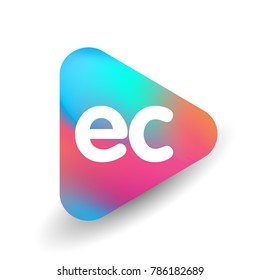 Letter EC logo in triangle shape and colorful background, letter combination logo design for business and company identity.
