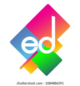 Letter ED logo with colorful geometric shape, letter combination logo design for creative industry, web, business and company.