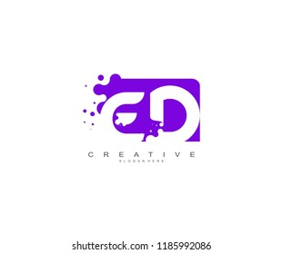 Letter ED Logo Design Vector with Abstract Square Shape Dots
