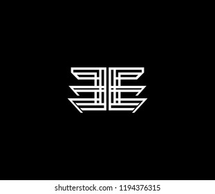 Letter EE Linear Stripe Illusion Monogram Shape Logo