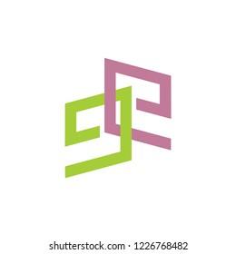 letter ee linked colorful logo vector
