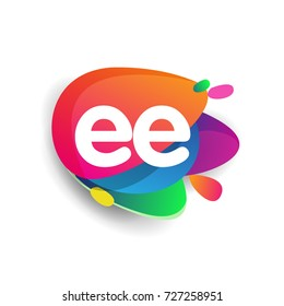 Letter EE logo with colorful splash background, letter combination logo design for creative industry, web, business and company.