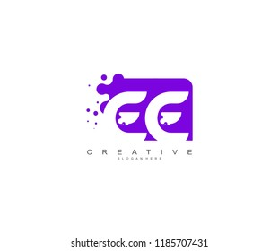 Letter EE Logo Design Vector with Abstract Square Shape Dots