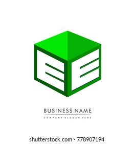 Letter EE logo in hexagon shape and green background, cube logo with letter design for company identity.