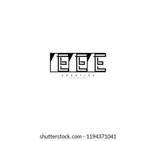 Letter EEE Linear Stripe Illusion Monogram Isolated Square Shape Logo