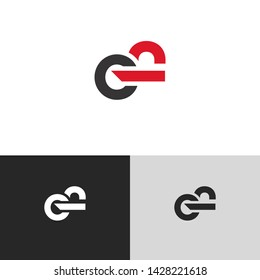 Letter ef linked lowercase logo design template elements. Red letter Isolated on black  background. Suitable for business, consulting group company.