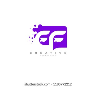 Letter EF Logo Design Vector with Abstract Square Shape Dots