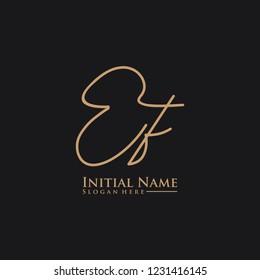 Letter Ef Logo. Initial Letter Design Vector Luxury Colors
