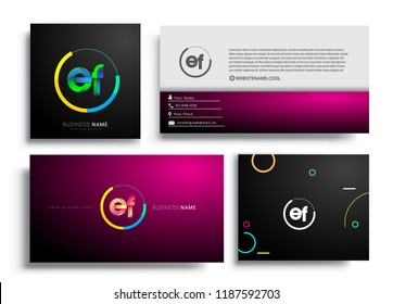 Letter EF logotype with colorful circle, letter combination logo design with ring, sets of business card for company identity, creative industry, web, isolated on white background.