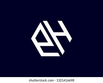 The letter EH hexagon with clean lines has a smart and modern design