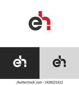 Letter eh linked lowercase logo design template elements. Red letter Isolated on black  background. Suitable for business, consulting group company.