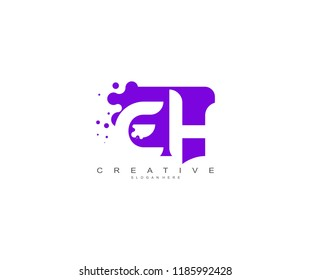 Letter EH Logo Design Vector with Abstract Square Shape Dots