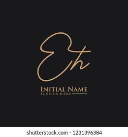 Letter Eh Logo. Initial Letter Design Vector Luxury Colors