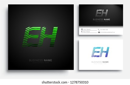 Letter EH logotype with colorful circle, with striped composition letter, sets of business card for company identity, creative industry, web.