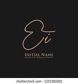 Letter Ei Logo. Initial Letter Design Vector Luxury Colors