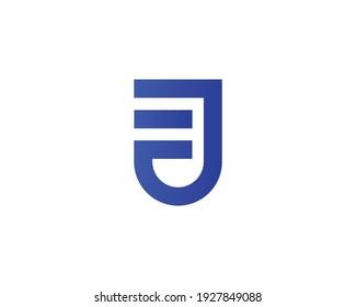 letter ej and je logo design vector template
