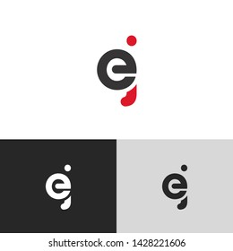 Letter ej linked lowercase logo design template elements. Red letter Isolated on black  background. Suitable for business, consulting group company.